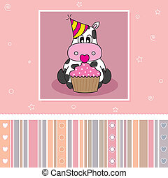 Cow with a cupcake