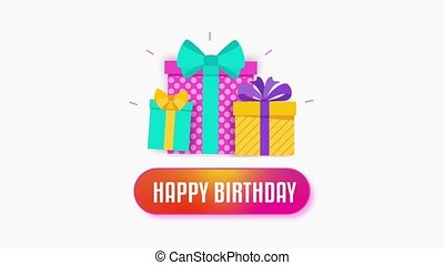 Birthday card. Cursor presses a button and turns on congratulation. Bright boxes with gifts pop up on the screen. 2D flat animation. Video footage.