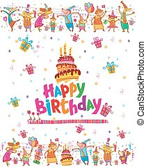 Birthday card design with cake