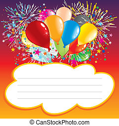 Birthday card - Card with balloons and text area-vector