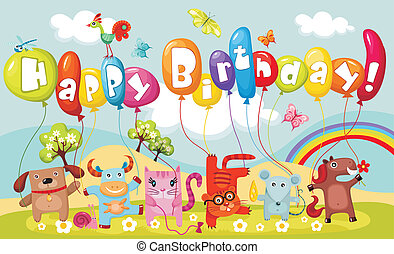birthday card - vector illustration of a cute birthday card