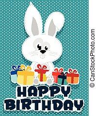 Birthday card illustrated bunny