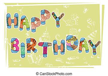 Birthday Card - illustration of happy birthday card with...