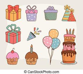 birthday card set icons