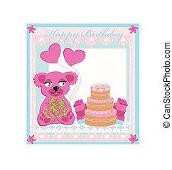 birthday card, sweet teddy bear holding heart balloons