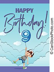 Birthday card template for nine years old