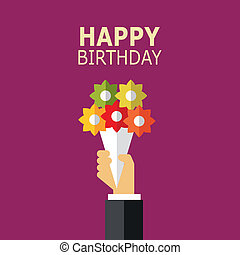 birthday, card., vector.