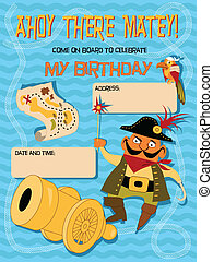 Birthday card with a cartoon pirate