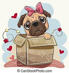 Birthday card with a Cute Cartoon Pug Dog in the box