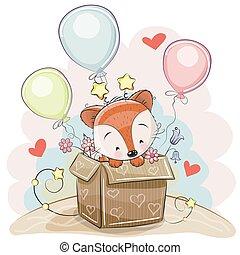 Birthday card with a Cute Fox