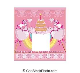 birthday card with a cute unicorn
