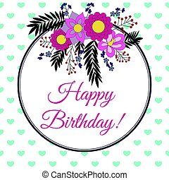 Birthday card with abstract flower elements