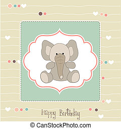 birthday card with baby elephant