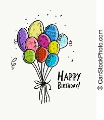 Birthday card with balloons for your design