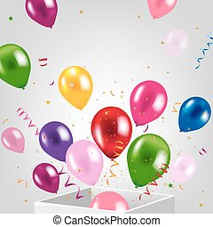 Birthday Card With Box And Balloons