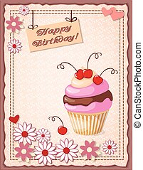birthday card with cake, cherry, hearts and flowers
