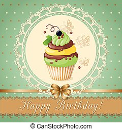 birthday card with cake currant and ribbon