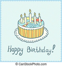 Birthday card with cake on blue textured background.