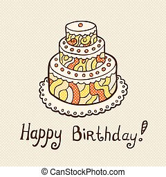 Birthday card with cake on neutral textured background.