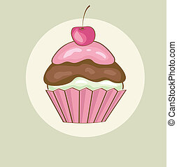 Birthday card with cherry cupcake.