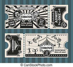 Birthday card with circus tickets vector template