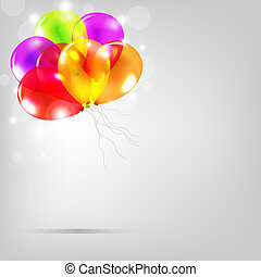 Birthday Card With Colorful Balloons, Vector Illustration