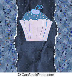 Birthday card with cupcake. EPS 8