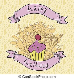 Birthday card with cupcake