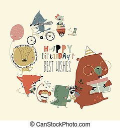 Birthday card with cute animals celebrating holiday