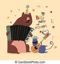 Birthday card with cute animals playing the musical instruments