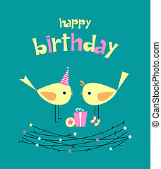 Birthday card with cute birds with gifts