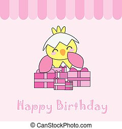 Birthday card with cute chick and birthday gifts