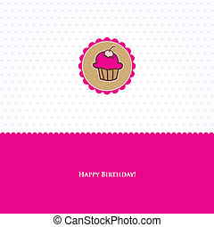 Birthday card with cute cupcake