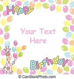 Birthday Card With Cute Giraffe And Balloons Frame