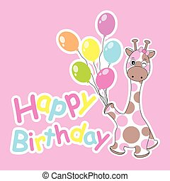 Birthday card with cute giraffe bring colorful balloons