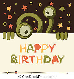 Birthday card with cute monster