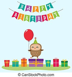 Birthday card with cute owlet standing on the present with...