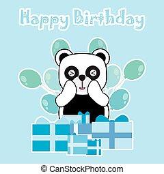 Birthday card with cute panda and birthday gift