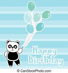 Birthday card with cute panda brings blue balloons
