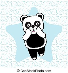 Birthday card with cute panda on star background