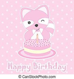 Birthday card with cute raccoon and birthday cake
