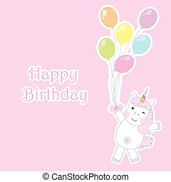 Birthday card with cute unicorns brings colorful balloons