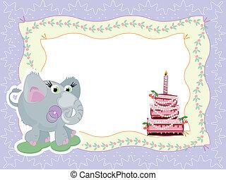 Birthday card with elephant