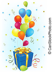 illustration of birthday card with gift and balloon on abstract background