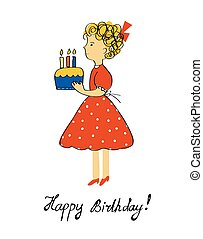Birthday card with girl and cake for a child