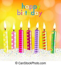 Birthday Card, With Gradient Mesh, Vector Illustration