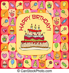 birthday card with hand drawn elements