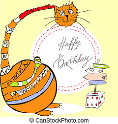 Birthday card with happy cat