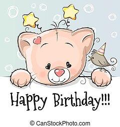 Birthday card with Kitten