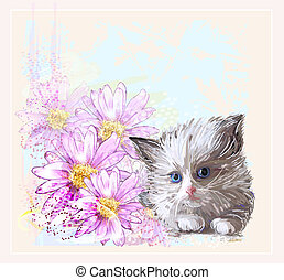 birthday card with  little fluffy kitten and gerberas